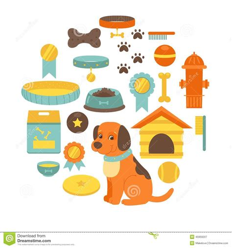 puppies and stuff stuff collection toys food doghouse stock vector illustration 45959207