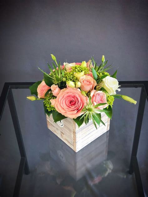 pink green wood box arrangement small small