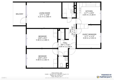 sle floor plan square footage matterport