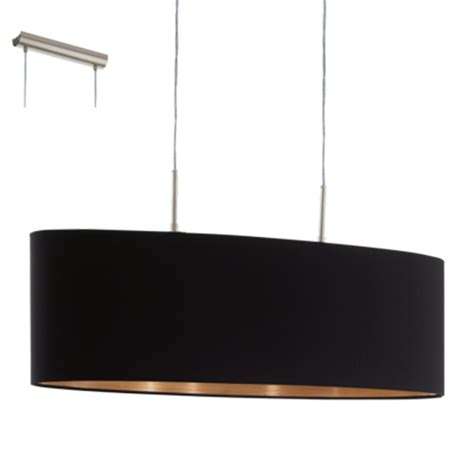 large black pendant light eglo 94915 pasteri large oval black and copper fabric