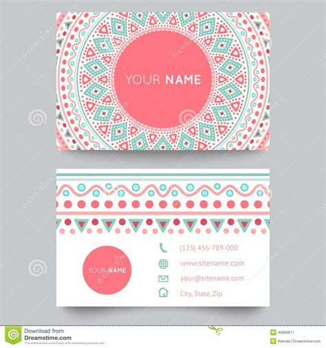 editable card template free business card template blue white and pink stock vector