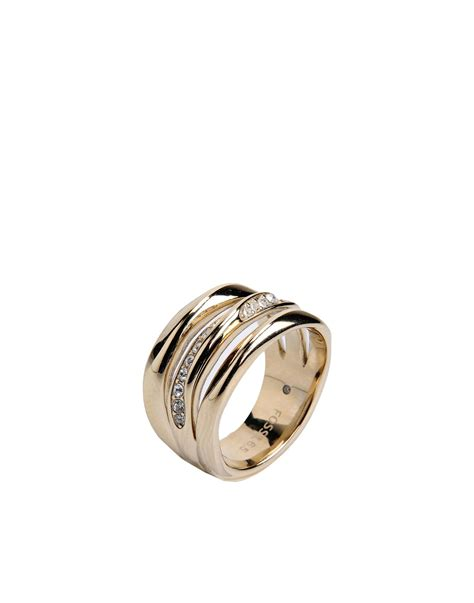 Fossil Ring Gold fossil ring in metallic lyst
