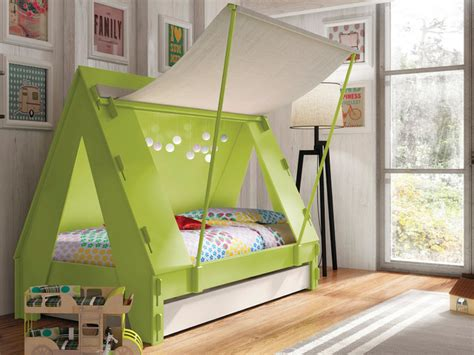 Handmade Childrens Furniture - handmade tent cabin trundle bed in green modern beds