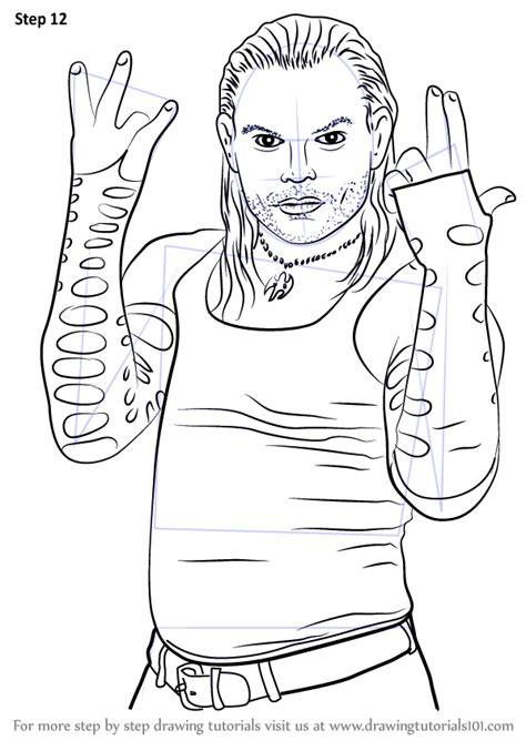 Learn How To Draw Jeff Hardy Wrestlers Step By Step Jeff Hardy Coloring Pages