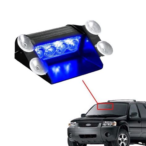 strobe lights for cars blue 4 led car emergency warning dashboard dash visor