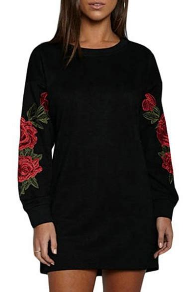 Floral Embroidered Pullover chic floral embroidered sleeve neck tunic