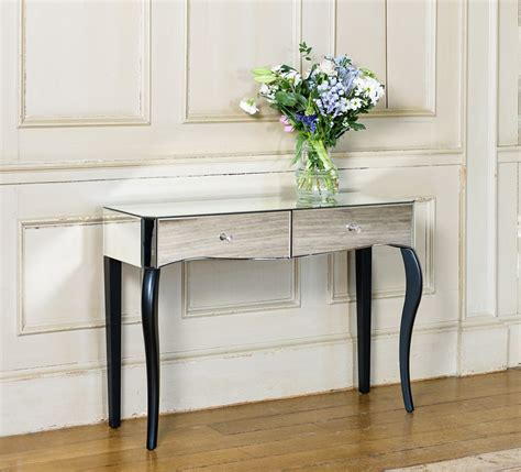 console table with two ls mirrored console table with contrasting black legs