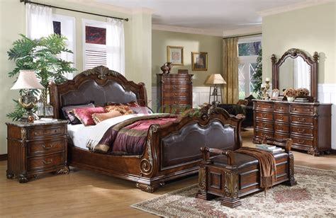sleigh bedroom furniture set with leather headboard and