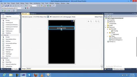 visual studio android how to create hello world android application with using visual studio 2010