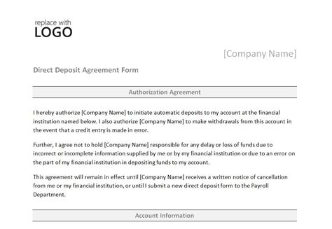 direct deposit form template direct deposit form