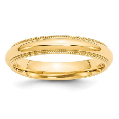14k Yellow Gold Wedding Band by 14k Yellow Gold 4mm Engravable Milgrain Comfort Wedding