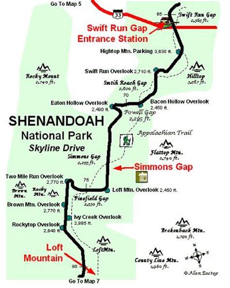 skyline drive map skyline drive map shenandoah national park map 6 copyright map by alan eastep doggie