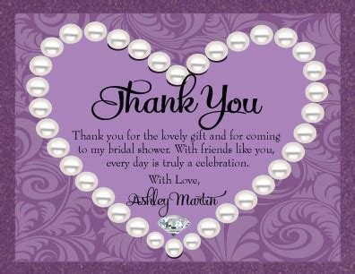 Thank You Letter For Bridal Shower Wedding Shower Thank You Note Template