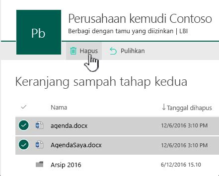 Keranjang File recycle bin restore file location