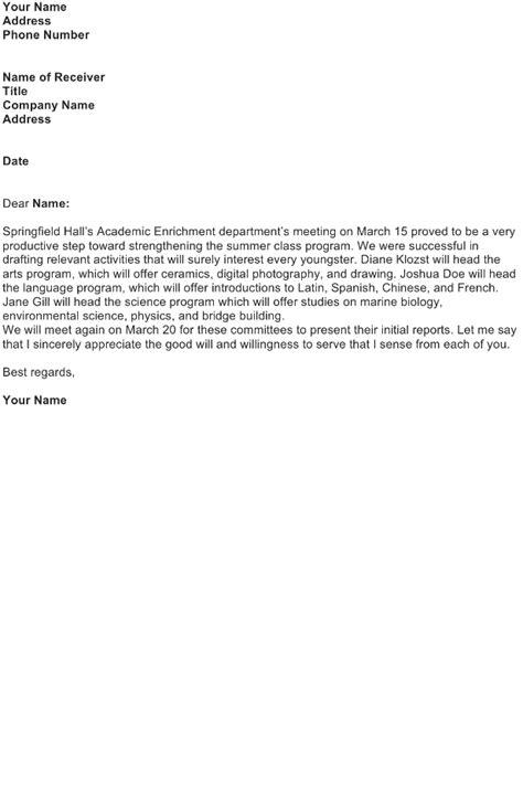 Appraisal Meeting Letter follow up letter sle sle business letters