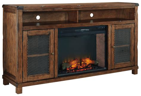 tv stand with fireplace insert signature design by tamonie rustic mango veneer xl