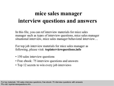 mice sales manager questions and answers