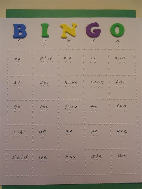 Braille Bingo Cards Vision Print Braille Practice