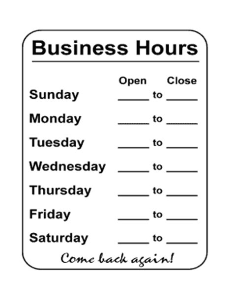 free business hours sign template office hours template word fill printable