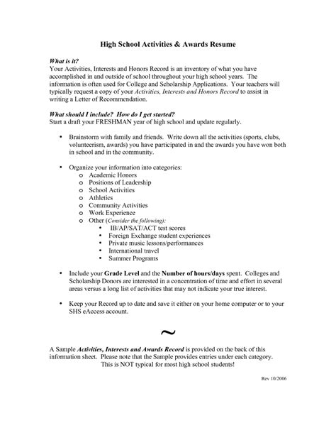 high school resume exles for college applications high school resumes for college applications resume
