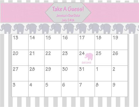 calendar template for baby shower items similar to printable due date calendar baby
