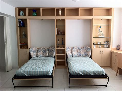 contemporary bed room horizontal twin murphy bed twin