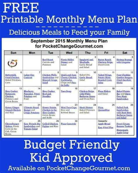 Printable Budget Recipes | delicious meals your family and printable menu on pinterest