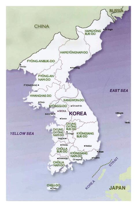 political map of korea political and administrative map of korean peninsula