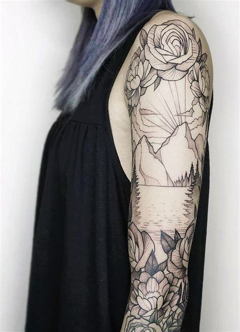 tattoo cost prague mountain and floral black white sleeve tattoo tattoo