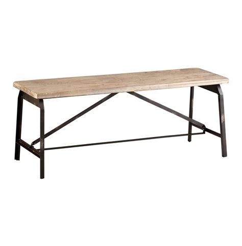 iron wood bench laramie modern rustic iron solid wood industrial bench