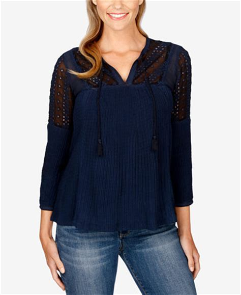 Branded Max Sl Sleeveless Blouse lucky brand embroidered peasant top tops macy s