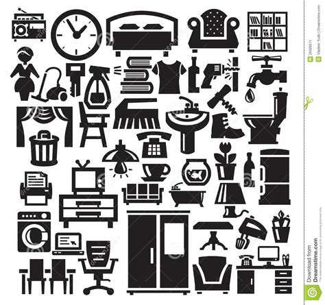 home furniture and appliances icons stock image image