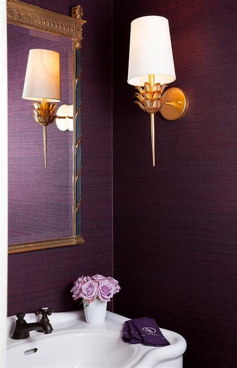 purple and gold bathroom purple powder room with parisian pedestal sink transitional bathroom