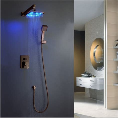 Motion Sensor Bathroom Faucet Dark Oil Rubbed Bronze Shower Head With Hand Shower
