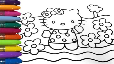 hello kitty coloring pages youtube hello kitty coloring with spring flowers youtube