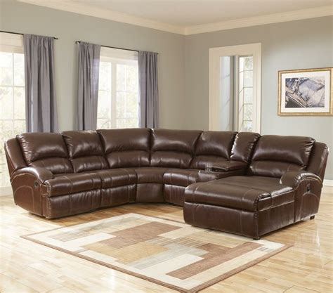 ashley furniture leather chaise durablend harness leather sectional with recliner and