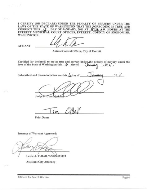 Search Warrant Inventory Form Taamu V City Of Everett Animal