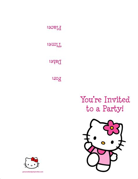 printable  kitty birthday party invitations
