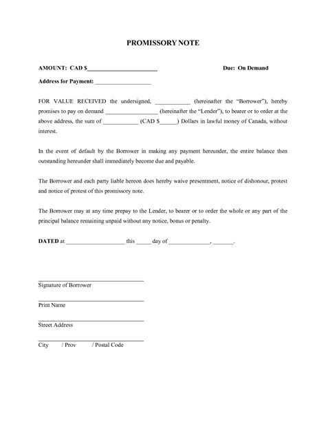 promissory note template canada 28 images basic