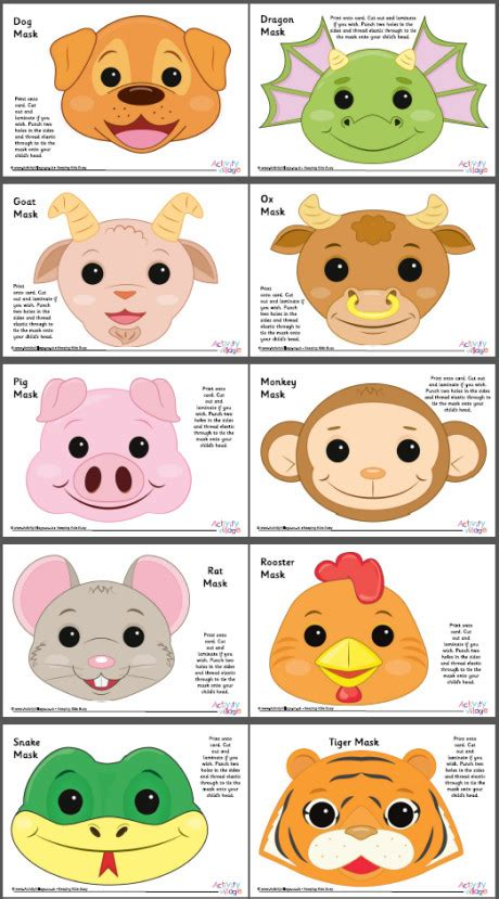 new year animal masks to colour new year animal masks to colour 28 images free
