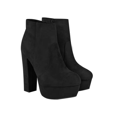 Ankle Platforms black suede chunky block high heels platforms ankle high