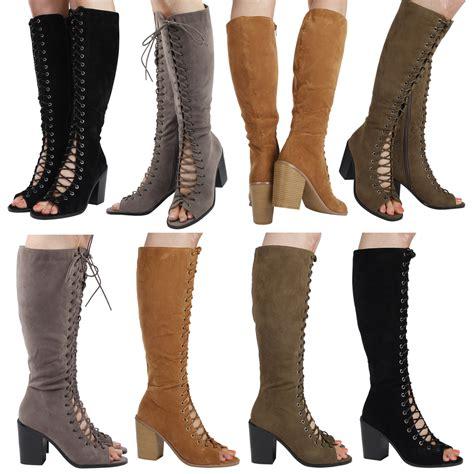 davina womens block heels peep toe lace up mid calf