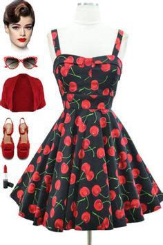 pinup couture  jenny gathered full skirt in cherry border