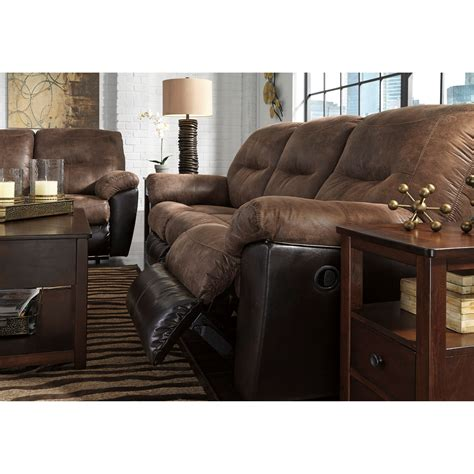 faux leather recliner sofa two tone faux leather reclining sofa by signature design