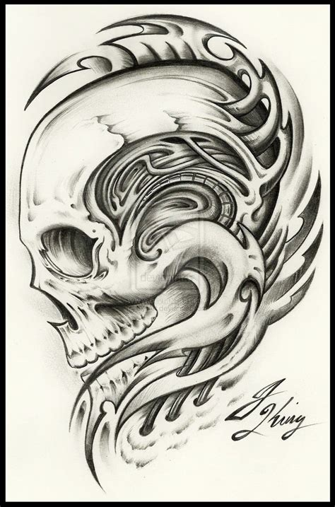 biomechanical skull tattoo design mecanical draw quotes quotesgram