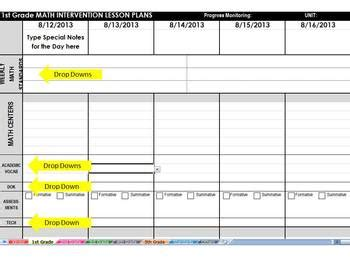intervention lesson plan template math intervention common weekly lesson plan