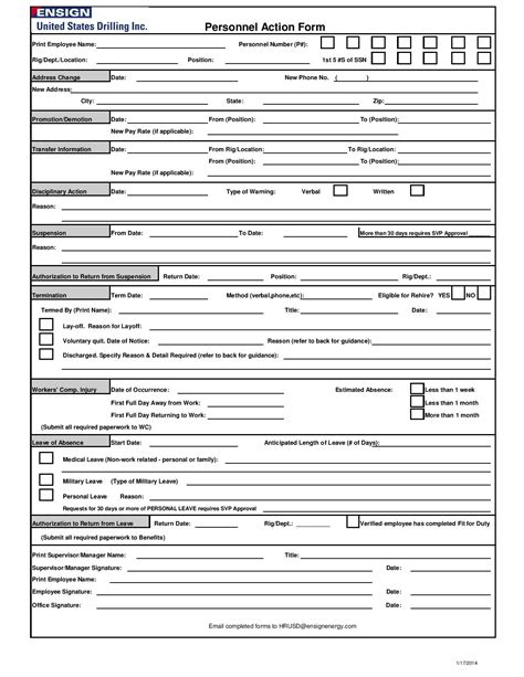 29 personnel action form templates