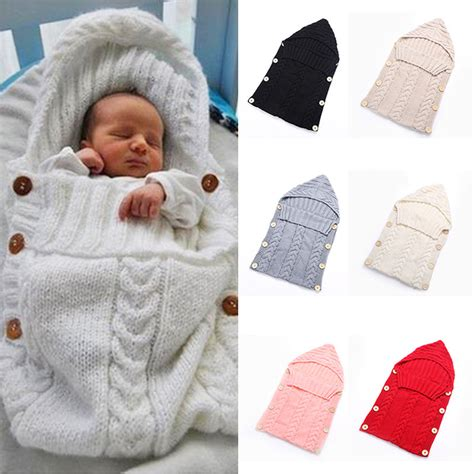 Sleep Blanket For Baby by Newborn Baby Knitted Crochet Hooded Sleeping Bags