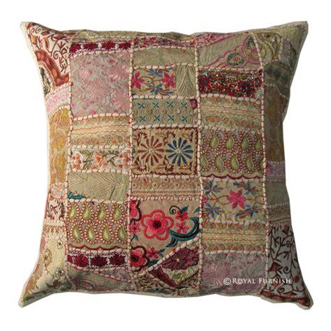 Sari Patchwork - 24x24 inch large white indian sari patchwork toss pillow
