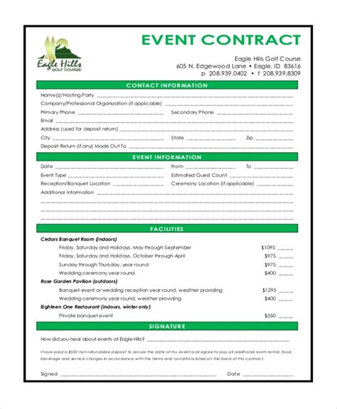 Sle Event Contract Form 10 Free Documents In Word Pdf Event Contract Template